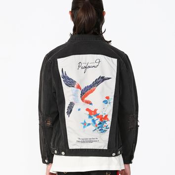 Bird Poem Back Panel Denim Jacket