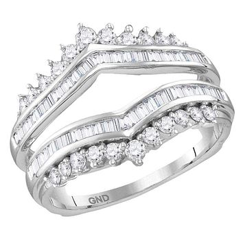 14kt White Gold Women's Round Diamond Wrap Ring Guard Enhancer Wedding Band 3/4 Cttw - FREE Shipping (US/CAN)