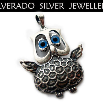 Sterling Silver 925  Greek Goddess Athena's Owl Big Pendant FREE SHIPPING WORLDWIDE