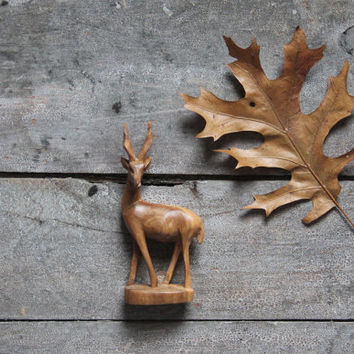 vintage antelope, wooden figure, handcarved home decor