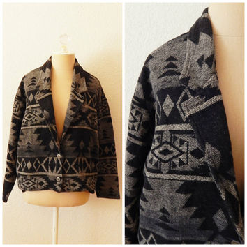 David Paul Ultra Soft Italian Fabric Native American Print Boho Rancher Jacket Medium