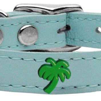 Green Palm Tree Widget Genuine Leather Dog Collar Baby Blue 18