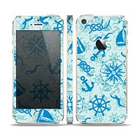 The Blue Nautical Collage V5 Skin Set for the Apple iPhone 5s