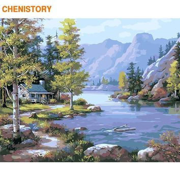 CHENISTORY Frameless Mountain Rivers DIY Painting By Numbers Modern Wall Art Picture Calligraphy Painting For Home Decor 40x50cm