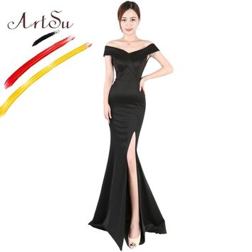 ArtSu Elegant Off Shoulder Long Party Dress WineRed Black Sexy Side Split Mermaid Prom Gowm Women Floor-Length Wrap Slim Vestido