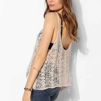 Staring At Stars Feather Crochet Cropped Cami - Ivory