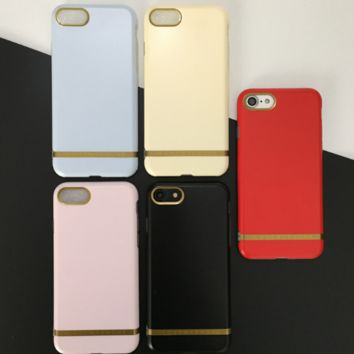 Fashion color of macaron gold line plastic Case Cover for Apple iPhone 7 7Plus 6 Plus 6 -005-12-Craftonline