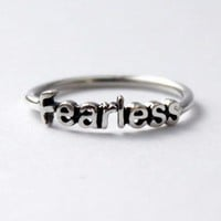 Fearless Ring * '925' Sterling silver stacking ring with Poetic word