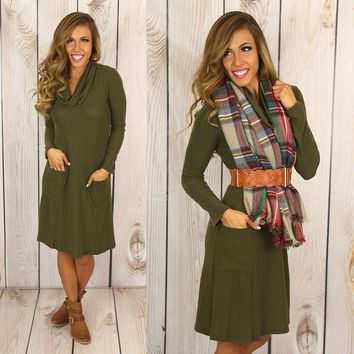 Hooked On A Feeling Dress in Olive