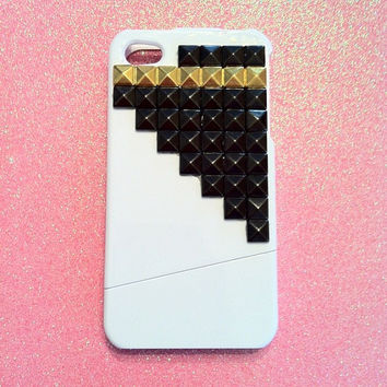 iPhone 4 4s Case  White with Gun Metal and Gold Studs by JMxSweets
