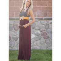 Gray and Burgundy Maxi Tube Dress with Cinched Bust with Two Side Pockets CLEARANCE