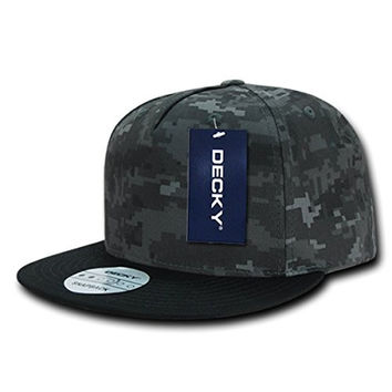 DECKY 5 Panel Camo Flat Bill Snapback Cap_NTG/Black_One Size