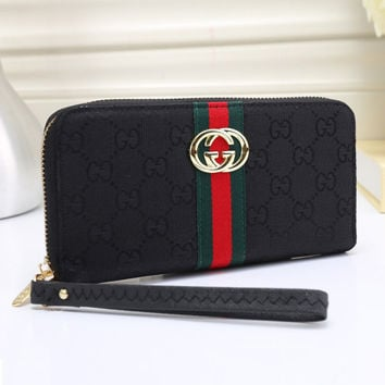 Gucci Women Leather Zipper Purse Wallet