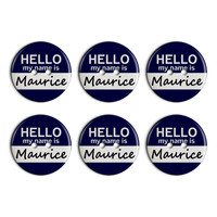 Maurice Hello My Name Is Plastic Resin Button Set of 6