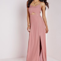 Missguided - Crepe Bralet Maxi Dress Dusky Pink
