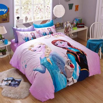 Pink Disney Cartoon Frozen Elsa Anna 3D Printed Bedding Sets For Girls  Bedroom