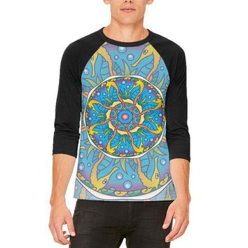 CREYCY8 Mandala Trippy Stained Glass Seahorse Mens Raglan T Shirt