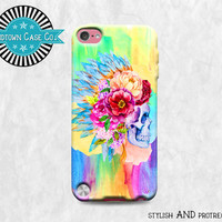 Watercolor Painting Skull with Flowers and Feathers Head Dress iPod Touch 5th Gen Generation Rubber Case