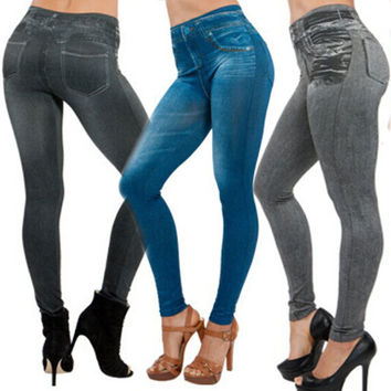 Leggings NEW Sexy Women Lady Jean Color Skinny Jeggings Stretchy Slim Leggings Fashion Skinny Pants