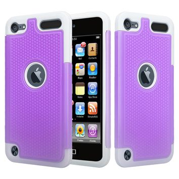 Apple iPod Touch 5 / Touch 6 Case, Heavy Duty Dual Layer Armored Protective Hybrid Case Cover For iPod Touch 5 / Touch 6 - Purple/Grey