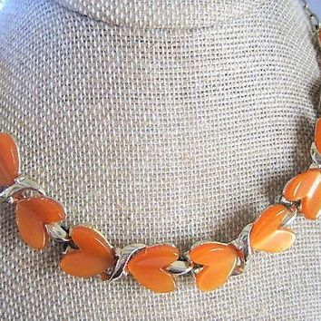 Orange Lucite Necklace, Unsigned Heart Choker, Orange Lucite Thermoset, Mid Century Choker