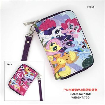 Anime PU Short Wallet/My Little Pony Purse with Zipper/Coin Purse/Zero Wallet
