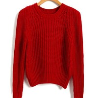 Cropped Chunky Knitted Jumper in Red