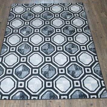 """Silver Grey Black Large Contemporary Faux Wool Area Rug Size 5'4"""" X 7'5"""""""