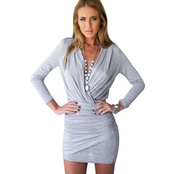 Spring Autumn Women Sheath Bodycon Gray Dark blue Dresses Women Long Sleeve V Neck Sexy Club Mini Bandage Dress