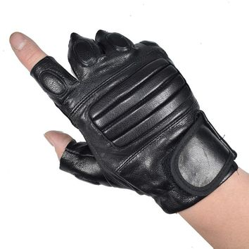 KUYOMENS Men's Fingerless Gloves Wrist Half Finger Glove Unisex Fingerless Mittens Real Genuine Leather Glove