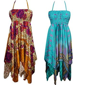 Mogul Interior Lot Of 2 Delores Womens Halter Dress Handkerchief Hem Two Layer Beach Holiday Dresses S/M