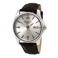 Kenneth Cole KC1866KCP Men's New York Silver Dial Brown Leather Strap Watch