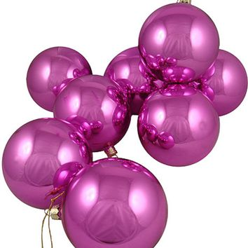 "Club Pack of 16 Shiny Pink Lolipop Glass Ball Christmas Ornaments 4"" (100mm)"