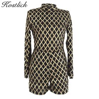 Kostlich Winter Playsuits 2017 Turtleneck Long Sleeve Rompers Womens Jumpsuit Geometric Sequined Sexy Women Jumpsuit Romper