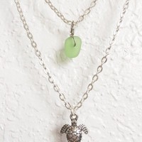 Green Seaglass Charm Layered Necklace