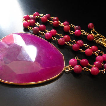 Pink Agate Pendant Necklace, Big Pink Agate Pendant, 14K Gold Filled Wire Wrapped Ruby Crazy Lace Agate, Pink and Gold Necklace, Hot Pink