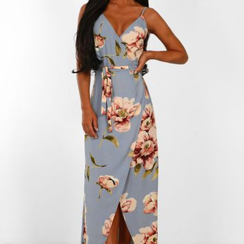 Vanilla Mai Tai Grey Floral Print Wrap Maxi Dress