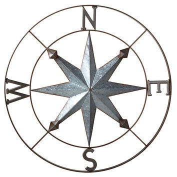 Galvanized Metal Wall Art Rose Compass - 30-in Midwest CBK