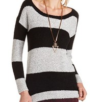 Striped Fluffy Pullover Sweater: Charlotte Russe