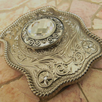 Silver Concho Belt Buckle -  Western Mens Womens Engraved Buckle -  Silver Concho Western Custom Belt Buckle, - Cowgirl Cowboy Concho Belt