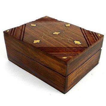 Handcrafted Sheesham Wood and Inlaid Brass Box - Noahs Ark (B)