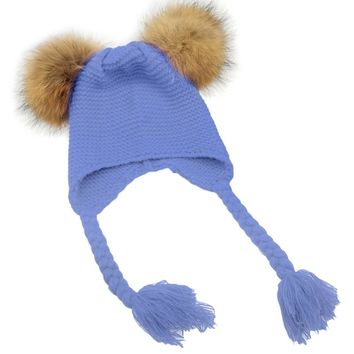 2017 Winter Baby Knit Hat With Two Fur Pompoms Boy Girls Natural Fur Ball Beanie Kids Caps Double Faux Fur Pom Pom Hat Children