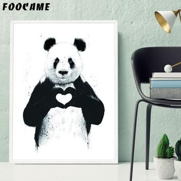 FOOCAME Cartoon Animal Panda LOVE Abstract Posters and Prints Art Canvas Painting Home Decor Wall Pictures For Living Room