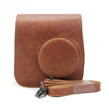 New Classic Vintage Leather Camera Strap Bag Case Cover Pouch Protector For Polaroid Camera For Fuji Fujifilm Instax Mini 8