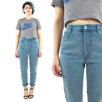 80s Green High Waist Jeans Tapered Leg Skinny Jeans Stretch Soft Green Mom Jeans Western Faded Denim Grunge 80s Skinny Jeans (XS)
