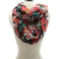 SOFT FOCUS FLORAL PRINTED INFINITY SCARF