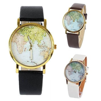deals] Women's Fashion Globe World Map Print Dial Round Gold Tone Case Fashion Watch = 5988017409