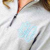 Monogram Heather Grey Sweatshirt Quarter Zip  Font Shown INTERLOCKING in light pool