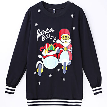 Round-neck Long Sleeve Christmas Pattern Ugly Christmas Sweater Alphabet Hoodies [9440717892]