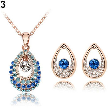 Women Multicolor Austria Crystal Droplets Pendant Chain Necklace Earrings Bride Wedding Engagement Party Jewelry Set